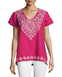 Johnny Was Tara Short Sleeve Embroidered Linen Tee Morning Glory