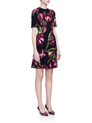 Dolce And Gabbana Tulip Print Wool Dress Dark Purple Tulip