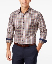 Tasso Elba Men's Big Anad Tall Plaid Long Sleeve Shirt Classic Fit Rust Combo