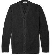 Balenciaga Cotton Jersey Backed Open Knit Wool Cardigan Gray