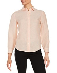 Lord And Taylor Petite Linen Blouse Peach Fuzz