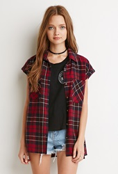 Forever 21 Cuffed Sleeve Plaid Flannel Shirt Red Navy
