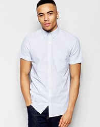 New Look Striped Shirt With Linen Mix In Light Blue In Regular Fit Pale Blue