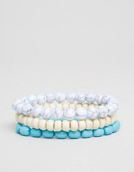 Asos Beaded Bracelet Pack With Turquoise Multi
