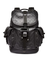 Givenchy Trident Star Embossed Leather Backpack Black