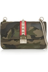 Valentino The Rockstud Camouflage Print Canvas Shoulder Bag Green