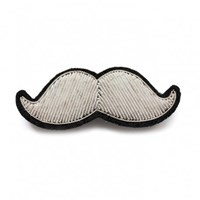 Macen Et Lesquoy Hand Embroidered Silver Mustache Brooch