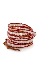 Chan Luu Beaded Wrap Bracelet Neon Pink Natural Brown