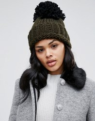 Helene Berman Oversized Beanie Hat Military Green Black