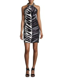 Carmen Marc Valvo Animal Print Beaded Neck Toga Dress Ivory Black