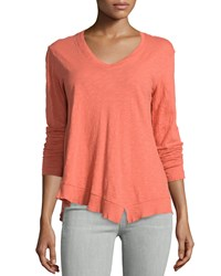 Jethro Slouchy High Low Long Sleeve Tee Orange Red