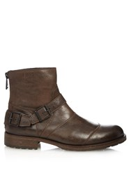 Belstaff Trialmaster Waxed Leather Boots Black Brown
