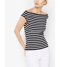 Striped Stretch Jersey Off The Shoulder Top Black White