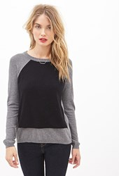 Forever 21 Contemporary Layered Baseball Sweater Charcoal Black