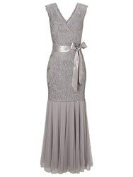 Jacques Vert Cornelli Bodice Maxi Dress Light Grey