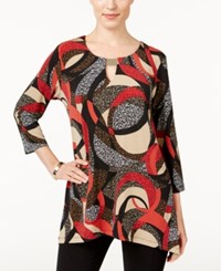 Jm Collection Printed Handkerchief Hem Top Only At Macy's Red Graphite