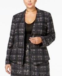 Rachel Roy Curvy Trendy Plus Size Houndstooth Blazer Only At Macy's Navy Combo