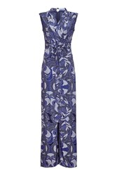 Almost Famous Rope Print Jumpsuit Blue