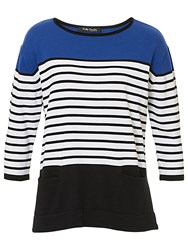 Betty Barclay Striped Cotton Blend Knitted Top Black Blue