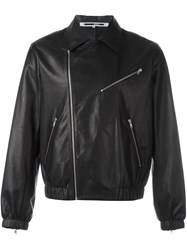 Mcq By Alexander Mcqueen Classic Collar Leather Jacket Black