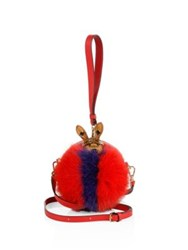 Mcm Rabbit Embellished Striped Fox Fur And Leather Tambourine Crossbody Bag Ruby Red