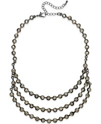 Bar Iii Hematite Tone Crystal 3 Row Collar Necklace Only At Macy's