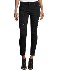 7 For All Mankind The Ankle Skinny Destroyed Jeans W Sequins Black Cut Out