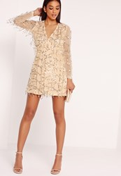 Missguided Sequin Mini Dress Gold Gold