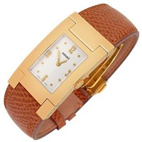 Versace On Fifth Men's Gold Plated Brown Leather Watch