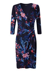 Grace Made In Britain Floral Print Dress Navy