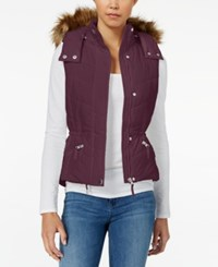 American Rag Faux Fur Trim Hooded Puffer Vest Only At Macy's Zinfindel