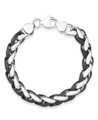 Sutton By Rhona Sutton Men's Black Tone Stainless Steel Chunky Chan Bracelet Silver