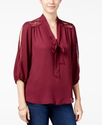 Amy Byer Bcx Juniors' Lace Trim Tie Front Blouse Bordeaux
