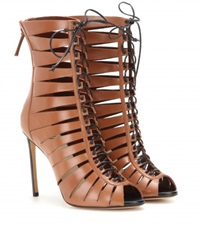Francesco Russo Cut Out Leather Ankle Boots Brown