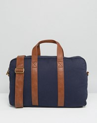 Asos Satchel In Navy Canvas With Tan Straps Navy