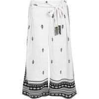 River Island Womens White Print Soft Culottes
