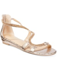 Thalia Sodi Clara Snake Print Detail Wedge Sandals Only At Macy's Women's Shoes Champagne Snake