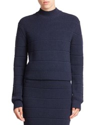 Marc By Marc Jacobs Ribbed Wool Turtleneck Sweater Bright Navy