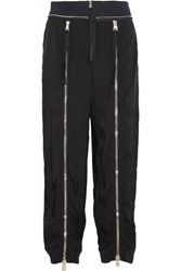 Chloe Zip Embellished Crepe Track Pants Black