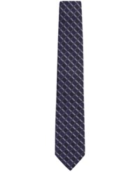 Hugo Boss Men's Patterned Silk Tie Darkblue