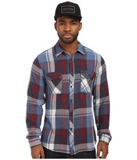 Brixton Bowery Long Sleeve Flannel Blue Burgundy Men's Long Sleeve Button Up Multi