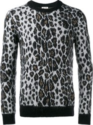 Saint Laurent Leopard Print Jumper Black