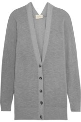 American Vintage Oram Ribbed Cotton Cardigan Gray