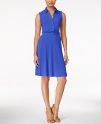 Ny Collection Sleeveless Utility Shirtdress Only At Macy's Victoria Blue