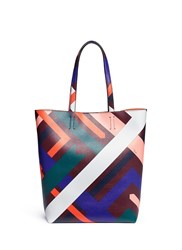 Emilio Pucci 'Parioli' Geometric Print Saffiano Leather Tote Multi Colour