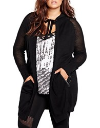 Addition Elle Nadia For L And L Plus Aboulhosn Hooded Raglan Cardigan Black
