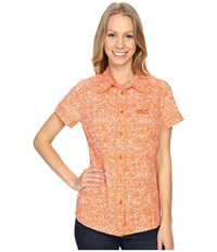 Jack Wolfskin Wahia Print Shirt Watercress Blossom All Over Women's Clothing Orange