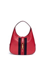 Gucci 'Jackie Soft' Medium Pigprint Leather Hobo Bag Red