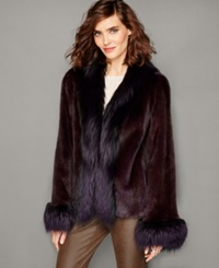 The Fur Vault Fox Trim Mink Fur Jacket Purple Grey