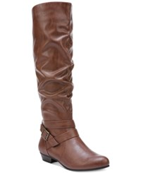 Fergalicious Lara Wide Calf Slouchy Tall Boots Women's Shoes Cognac